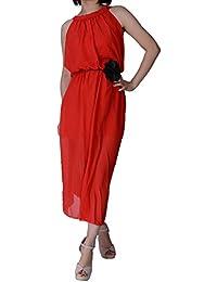 Dayiss®Damen Sommerkleid Chiffonkleid Maxikleid Boho Strandkleid Schulterfrei ärmellos Lang Freizeitkleid 2 Lagen (Rot)