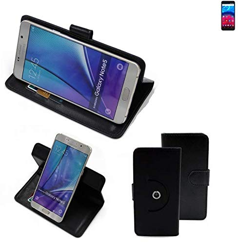 K-S-Trade® Hülle Schutzhülle Case für Archos Core 60S Handyhülle Flipcase Smartphone Cover Handy Schutz Tasche Bookstyle Walletcase schwarz (1x)
