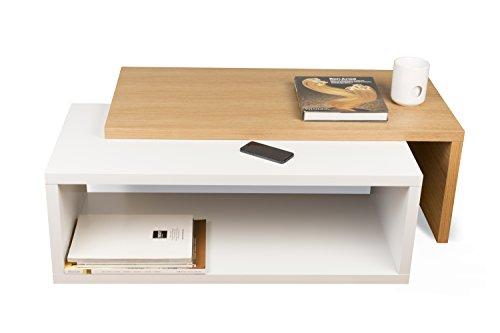 TemaHome Jazz Table de Salon, Bois, chêne/Blanc, 90 x 45 x 18 cm