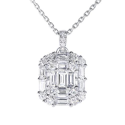 DX.GD Diamant Einfach Squaret Anhänger in 18 Karat Weißgold Halskette zum Frau Mädchen (VVS2, F-G, 40cm Kette),0.37CT (1 Ct Diamant-anhänger 2)