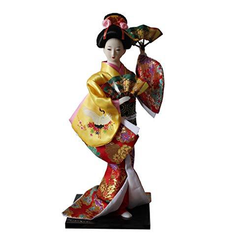 Baoblaze 12 Zoll Vintage japanische Kimono Puppe mit Fächer, orientalische Kokeshi Geisha Puppe Modell Kunsthandwer - ()