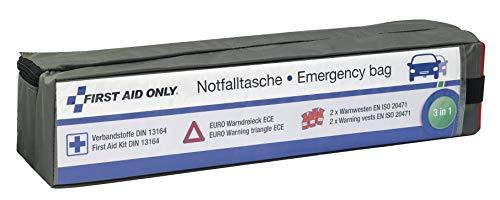 First Aid Only 3 in 1 Notfalltasche für Auto, KFZ DIN 13164, EURO Warndreieck, 2 x Warnwesten EN ISO 20471:2013, grau, P-10021