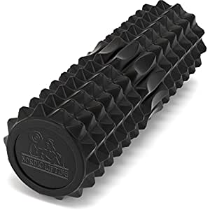 """Nordic Lifting Foam Roller for Best Muscle Massage & Deep Tissue Trigger - Roll & Stretch Tool - 1 Year Warranty (black 16"""")"""