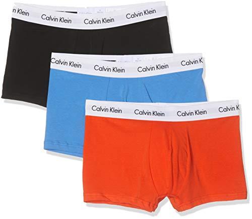 Calvin Klein Herren 3p Low Rise Trunk Boxershorts, Orange (Tangerine/Black/Regatta W.Wht Wb Kxd), Large (Herstellergröße: L) (3erPack)