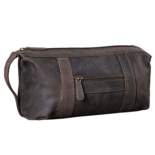 STILORD 'Bruno' Leder Kulturbeutel Vintage für Herren Damen Große Kulturtasche Zwei Fächer Waschtasche mit Henkel für Reisen, Farbe:dunkel - braun