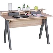 FineBuy escritorio 120 cm | Diseño vector de la oficina en Sonoma roble / gris | mesa de ordenador moderna con 2 cajones y espacio de almacenamiento | escritorio de la computadora ahorro de espacio adecuado para el ordenador portátil