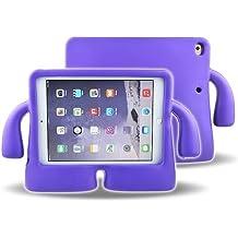 Funda protectora de espuma infantil,CLOUDSTOO protectora suave para Apple iPad mini 1/2/3/4, A prueba de golpes Kids Safe Foam Mango Cartoon Case Cover Stand para iPad mini 1/2/3/4, color lila
