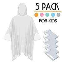 Opret Disposable Rain Ponchos, Emergency Waterproof Ponchos Durable Transparent Lightweight Raincoat with Hood, Pack of 5