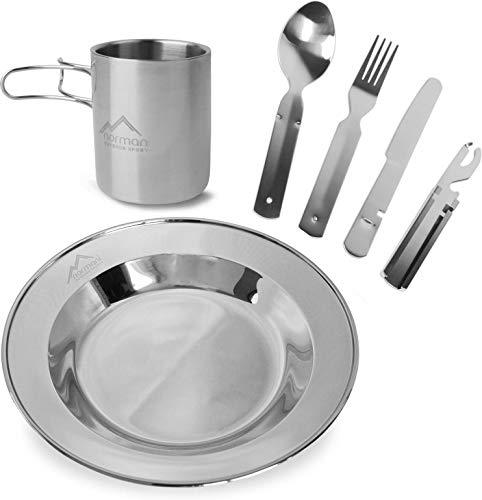 normani Camping Outdoor Geschirr-Set bestehend aus Edelstahl Teller, 5-teiligem Essbesteck und Tasse mit klappbarem Henkel - Edelstahl - rostfrei und hitzebeständig