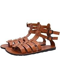 Butchi Classic Tan Color Multi-Strape Long Sandal For Men