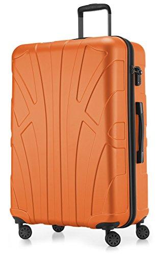 Suitline - valigia trolley rigido grande abs tsa 4 ruote, l (76cm), 110 litres, arrancione