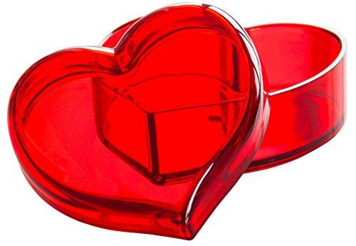 Solly`s Clara Schmuck Dose in Herzform mit Deckel, dekorative Herzschale für Ohrringe, Ringe, Ketten (Rot)