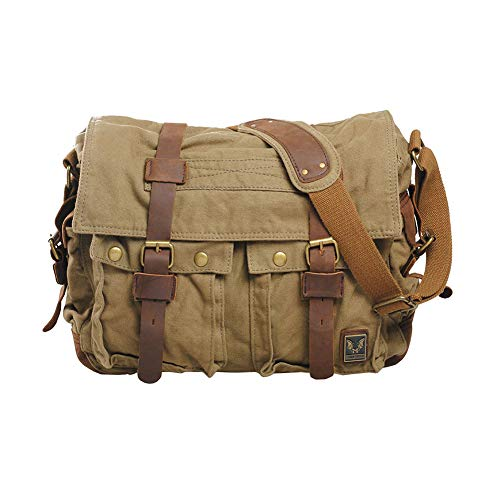 VRIKOO Vintage Military Soft Canvas Crossbody Sports Casual Shoulder Bags Satchel School Messenger Bag (Army Green,Large) - Business Casual Messenger Bag
