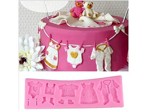 Huertuer Dekorierwerkzeug Baby-Kleidung Schokoladenformen Silikon-Gebäck-Hersteller-Behälter-Kuchen, der Werkzeuge verziert (Rosa) Eisform - Baby Kleidung Hersteller