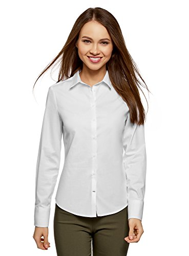 oodji Ultra Donna Camicia Basic in Cotone Bianco (1000N)