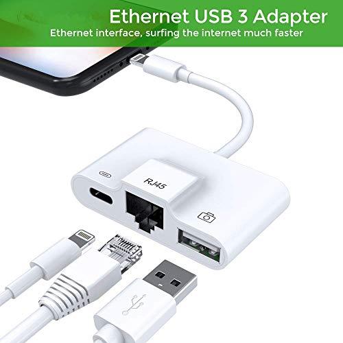 RJ45 Ethernet LAN Kabel Netzwerkadapter,Blitz zu USB Kamera Reader Adapter, Lade- und Daten Sync OTG Adapter für Phone/iPad, benötigt iOS 12.0 oder höher -