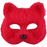 Fancy Dress Fox Mask Half Face Animal Mask Cosplay Costume Accessory For Halloween Carnival Masquerade (Red)