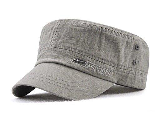 Herren Military Army Cap Vintage Schirmmütze Flat Kappe Cotton Mütze Baseball Cap (Grau)