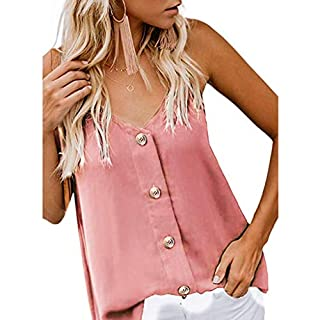 AM-Tops Womens Side Buttons Long Sleeve Casual Crew Neck Sweatshirt Loose T Shirt Tunic Blouses Pink
