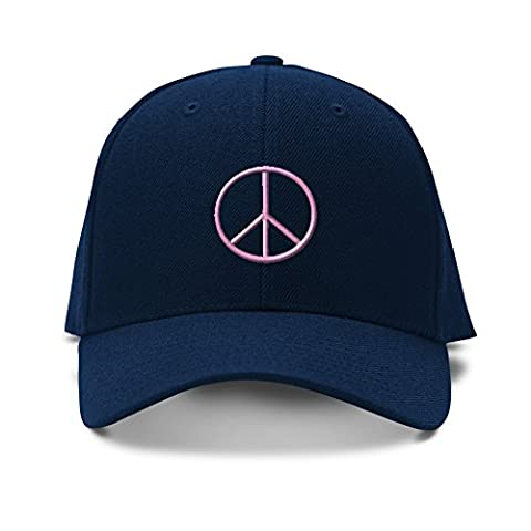 Feruch Thin Peace Sign Pink Embroidery Embroidered Adjustable Hat Baseball