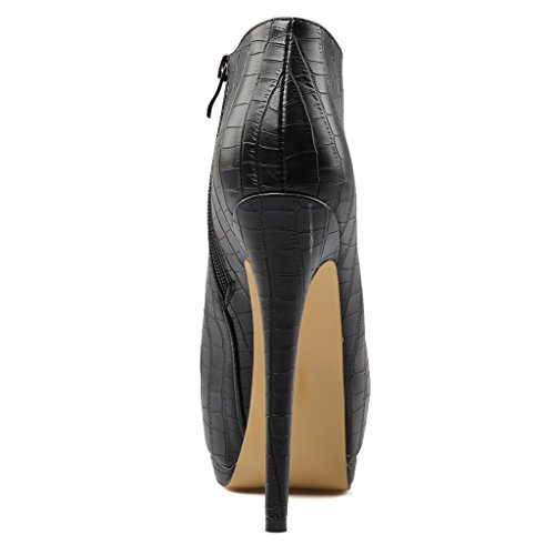 Femmina nero banchetto Piattaforma impermeabile Tacco alto Stivali Taglia larga Testa rotonda Stivaletti 8007FD , black , 38 BLACK-41