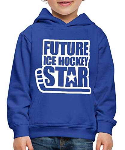 Spreadshirt Eishockey Future Ice Hockey Star Kinder Premium Hoodie, 134/146 (9-11 Jahre), Royalblau