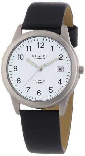 Regent 11190095 - Reloj analógico de cuarzo para hombre con correa de piel, color negro
