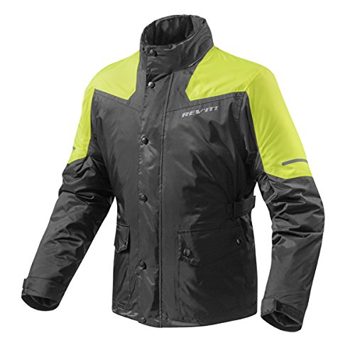 FRC009 - 1450-L - Rev It Nitric 2 H2O Rainwear Motorcycle Over Jacket L Black Neon Yellow