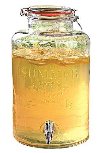 Dynamic24 8L Glas Getränkespender Zapfhahn Dispenser Saftspender Wasser Cocktail Spender