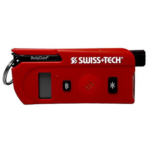Swiss Tech Swiss+Tech ST81610 Red 9-in-1 BodyGuard Auto Emergency Escape Tool with Speaking/Digital Tire Gauge, Key Ring