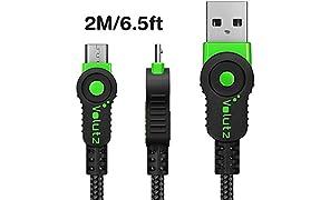 Volutz Micro USB Kabel, 2m nylonummanteltes Ladekabel, Quick Charge & Sync für Android Geräte, Samsung, PS4, Huawei, HTC, Sony u.v.m. - (Grün)
