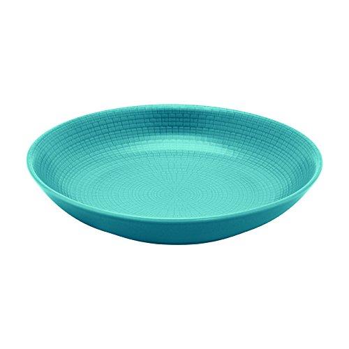 DEGRENNE - Modulo Nature lot de 6 assiettes creuse calotte ronde 21 cm, grès de porcelaine - Bleu galet