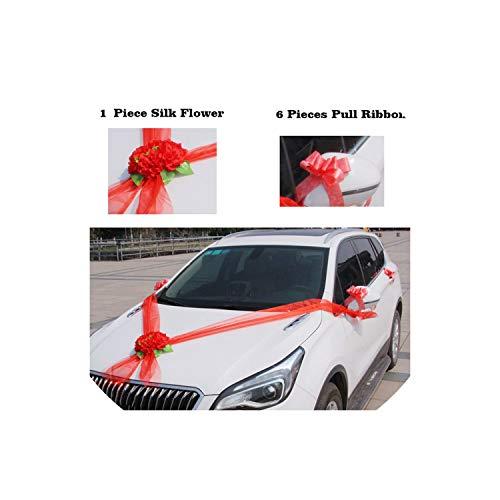 Gezellig Vesper Fake Flowers Hochzeit Auto Blumen Künstliche Blumen Silk Rosen-Blume für Hochzeitsdekoration, Rot