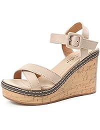Sandalias, zapatos de tacón alto, fondo pesado impermeable tablas, dedos y sandalias casuales,Arroz blanco,37...