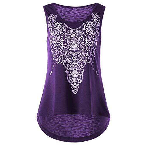 Plus Size Damen Print Rundhals mit festem Oberteil Lässige ärmellose Weste T-Shirt(Lila,4XL)