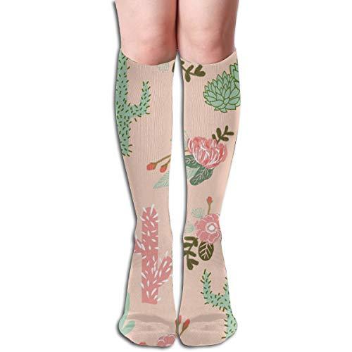 Kaktus-Blumen-Blumenpfirsich erröten Mädchen-Kompressions-Socken-erwachsene kniehohe Socken-Turnhallen-im Freiensocken 50cm 19.7inch -