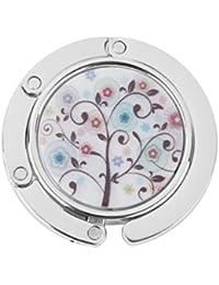 Gancho de Bolso Monedero Cuelgabolso Plegable Diamantes de Imitación Flores de Colores