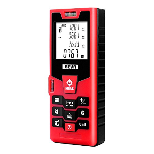 Laser-Entfernungsmesser BEVA Distanzmesser Distanzmessgerät (Messbreich bis 40m/±2mm mit LCD Hintergrundbeleuchtung, Staub- und Spritzwasserschutz IP54) (Digitale Laser-maßband)