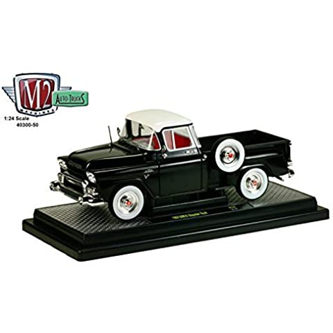 1958 GMC Stepside Truck Gloss Black and Dover White 1/24 by M2 Machines 40300-50A by GMC