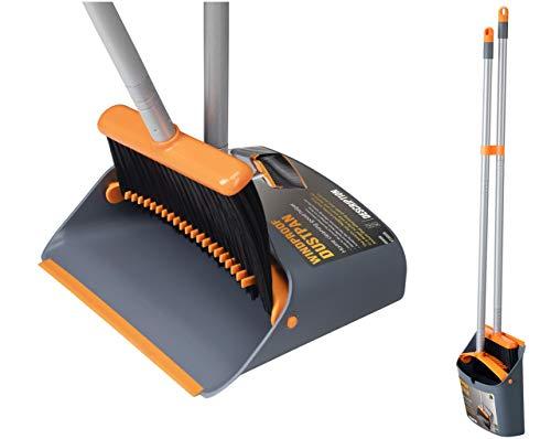 Jekayla Besen und Kehrschaufel Set, Kehrmaschine und Kehrschaufel Combo mit 137cm Langem Ausziehbarem Griff für die Haushaltsreinigung, Orange