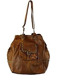 8e69c3ab46b20 BZNA Bag Maja Cognac Italy Designer Damen Handtasche Ledertasche  Schultertasche Tasche Leder Shopper Neu