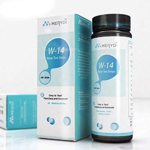 Trinkwasser-Test-Kits 100 Streifen 14-in-1 pH-Rückstände, Chlor, Gesamtalkalität, Eisen, Kupfer, Blei, Nitrit, Brom, Gesamtchlor, Fluorid-Aquarium, CE-zertifiziert -