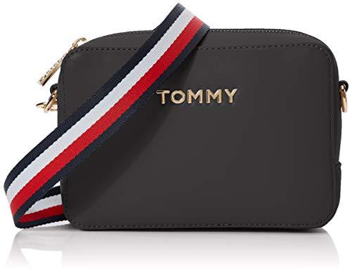 Tommy Hilfiger Damen Iconic Tommy Crossover Solid Umhängetasche, Schwarz (Black), 13x19x5cm