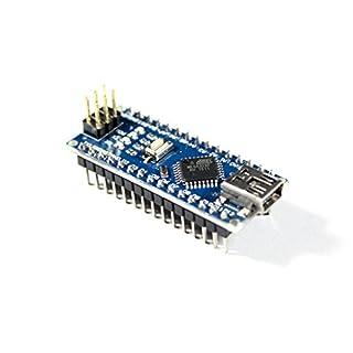 Paradisetronic.com Nano V3.0 Modul, Arduino kompatibles Entwicklungsboard mit Atmel ATmega328P Mikrocontroller, 5V, 16MHz, CH340G USB-Controller, aufgebaut mit angelöteten Stiftleisten