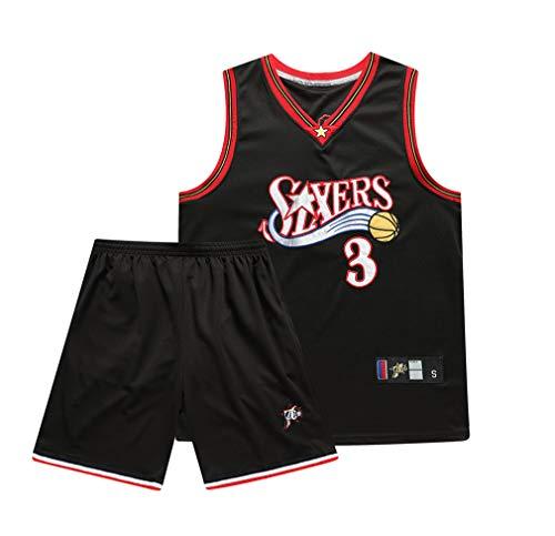 Jersey Philadelphia 76Ers Allen Iverson # 3, T-Shirt Anzug New Anzug Jugend Kinder Männer Stickerei Basketball (S/M/L/XL / 2XL / 3XL),Black,M