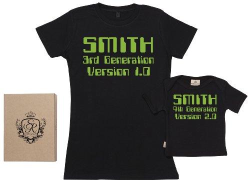 SR - dans une boîte cadeau - CUSTOM Generation Ensemble de T-shirts pour Mère et bébé, Noir, L & 6-12 mois