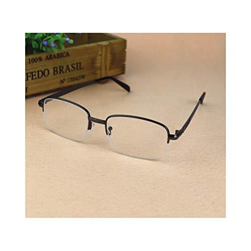 Easy Go Shopping Halbrand-HD-Kristalllinsenbrille, Lesebrille Unisex Vintage. Sonnenbrillen und Flacher Spiegel (Farbe : Schwarz, Size : +1.50)