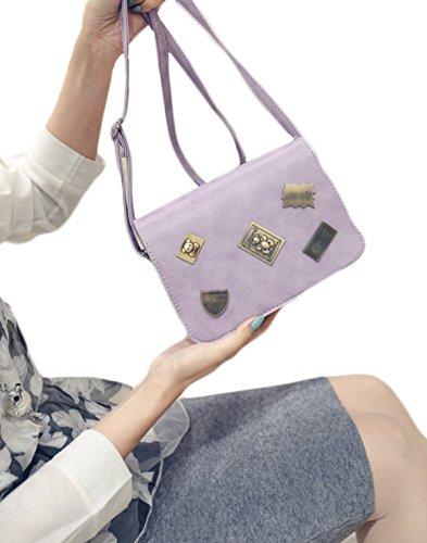 KYFW-Frauen-Retro- Abzeichen-kleine Quadratische Paket-Öl-Haut Einfache Einfache Farben-Schulter-diagonale Kreuz-Schöpflöffel-Beutel D