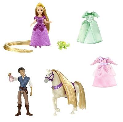 Mattel T7566 Princesas Disney - Juego de figuras y vestidos de Rapunzel por Mattel