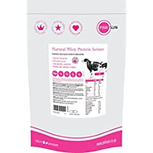 PINK SUN Proteine del Siero del Latte in Polvere Isolare 1kg Neutro Natural Whey (92% di proteina) - Grass Fed Hormone Free Whey Protein Isolate Powder 1000g - Puro, Naturali, Vegetariano, Non Denaturato, Non Aromatizzato, Senza Soia, Senza Glutine